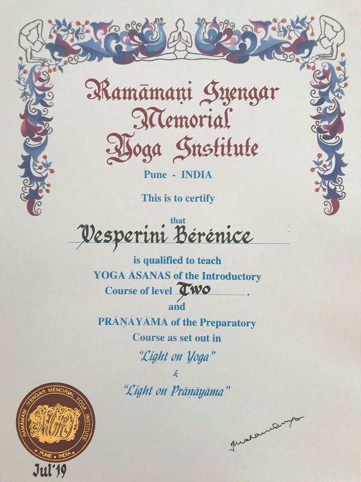 Certificat du Ramamani Iyengar Memorial Yoga Institute de Pune
